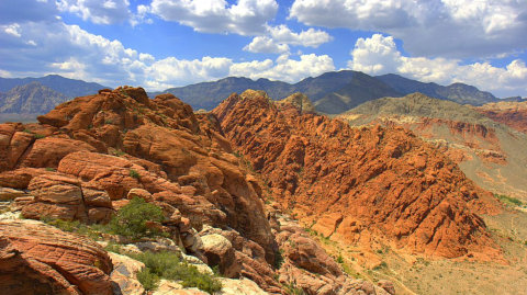 "By Fred Morledge (Self-photographed) [<a href=""http://creativecommons.org/licenses/by-sa/2.5"">CC BY-SA 2.5</a>], <a href=""http://commons.wikimedia.org/wiki/File%3ACalico_basin_red_rock_cumulus_mediocris.jpg"">via Wikimedia Commons</a>"
